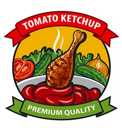 Tomato ketchup label design vector