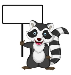 Raccoon cartoon posing with blank sign vector