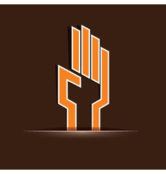 Abstract orange hand vector image