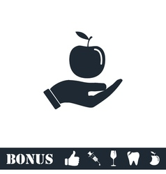 Apple in hand icon flat vector