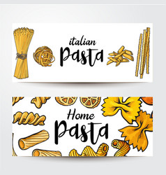 banners with uncooked italian pasta and place for vector image vector image