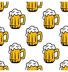 Beer tankards or mugs seamless pattern vector image vector image