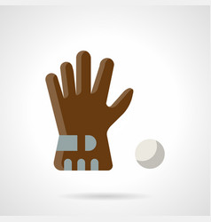 Brown glove and ball flat color icon vector