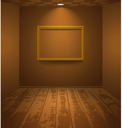 Brown room with frame vector image