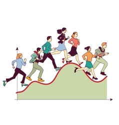 Business team competitive run graph vector