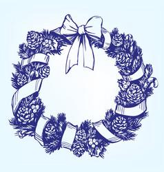 christmas wreath hand drawn vector image vector image