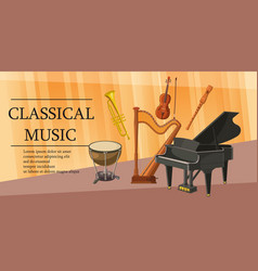 Classical music banner horizontal cartoon style vector