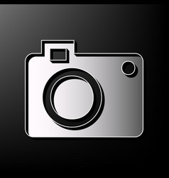 digital camera sign gray 3d printed icon vector image vector image