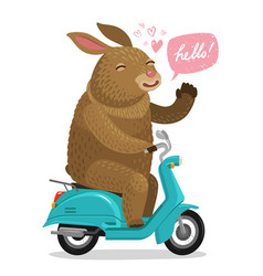 Easter bunny riding on scooter cartoon vector