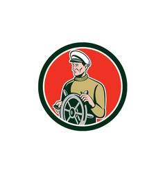 Fisherman sea captain wheel circle retro vector
