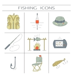 Fishing color icons vector image
