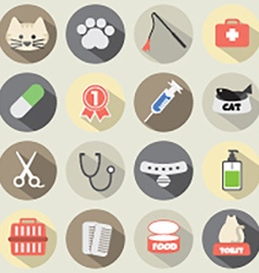 Flat Design Cat Icon Set vector image