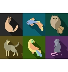 flat style animals set vector image vector image