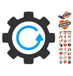 gear rotation direction icon with love bonus vector image
