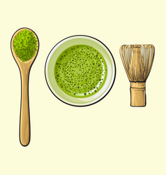 Green tea cup spoon of matcha powder and bamboo vector