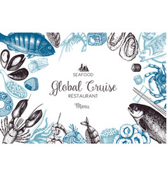hand drawn seafood design vector image