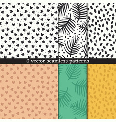 hand drawn seamless pattern set vector image vector image