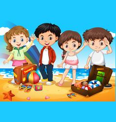 happy children on the beach vector image vector image