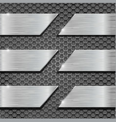 Metal perforated background with metal plates vector