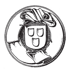 Motto label is a found on the seal of the town of vector