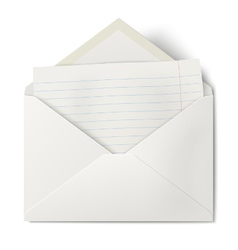 Opened envelope with lined sheet of paper inside vector image vector image