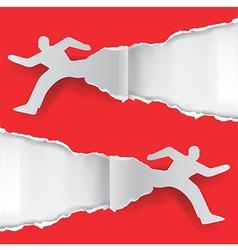 Paper running men vector image vector image