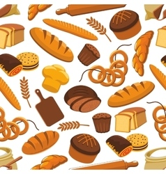 Pattern of bread and bakery products vector