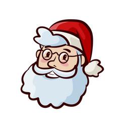 portrait of happy cute santa claus in hat vector image vector image