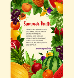 poster of fresh tropical exotic fruits vector image vector image