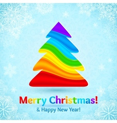Rainbow colors stripes plastic Christmas tree vector image vector image