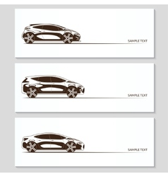Set of car silhouettes isolated on white vector image