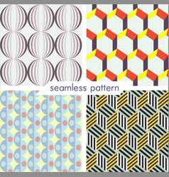Set of four seamless geometrical patterns 8 vector