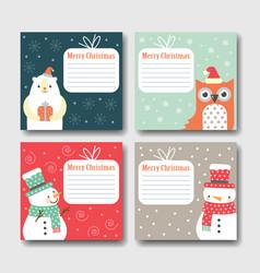 Set of postcards happy christmas vector