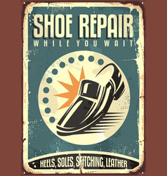 Shoes repair shop vintage sign vector