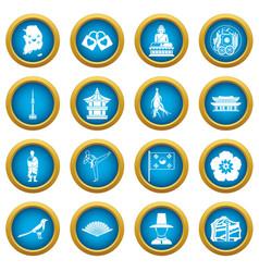 south korea icons blue circle set vector image