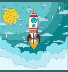 Space rocket flying in space vector