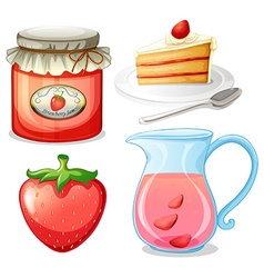 Strawberry cake and jam vector