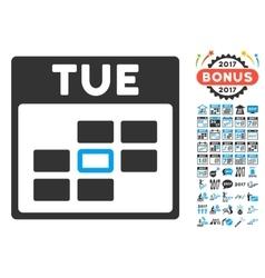 Tuesday calendar grid flat icon with bonus vector