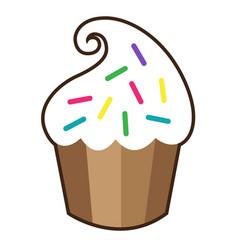 white vanilla cream cupcake isolated vector image