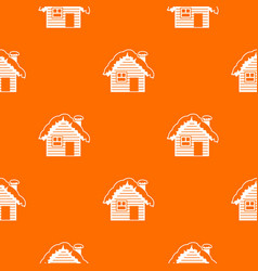 Wooden house covered with snow pattern seamless vector