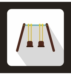 Wooden swings hanging on ropes icon flat style vector image vector image