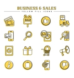 Business and sales yellow fill icons set vector