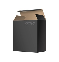 Black package cardboard box opened vector