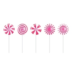 Realistic sweet lollipop candy set on white vector
