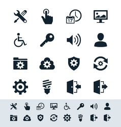 Setting icon set simplicity theme vector image