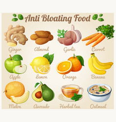 Set of cartoon icons anti bloating food vector