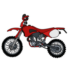 Red motocross bike vector