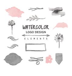 Vintage watercolor logo design elements vector