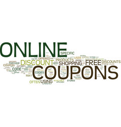 Free online coupons text background word cloud vector