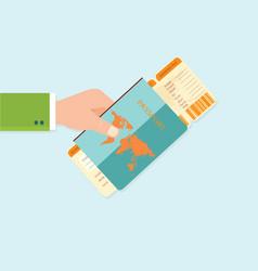 Boarding pass and passport in hands vector